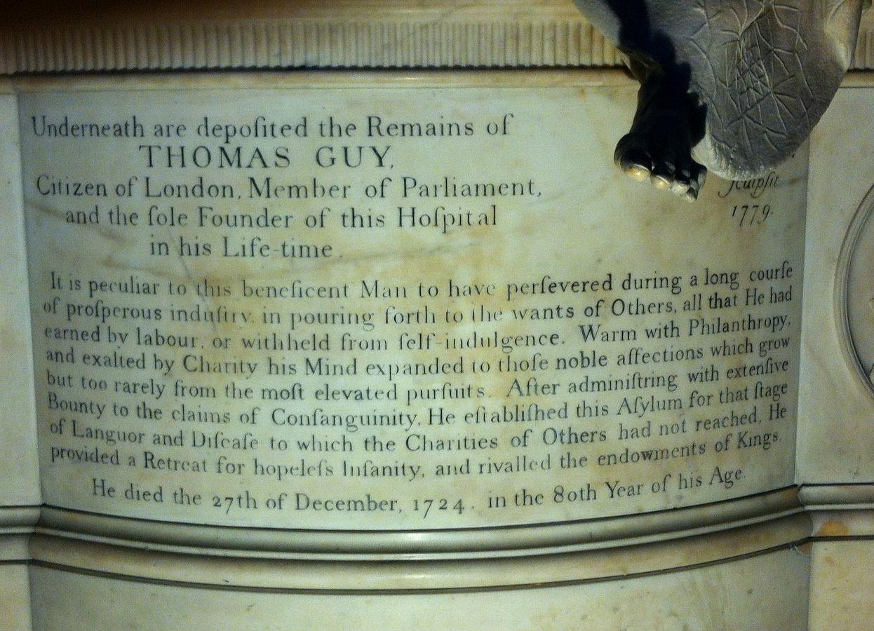 Epitaph of Thomas Guy