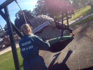 One of my keepers pushing me on the swing!