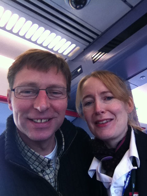 Jane and I, on the first of my train journeys of the day, heading towards Oxford