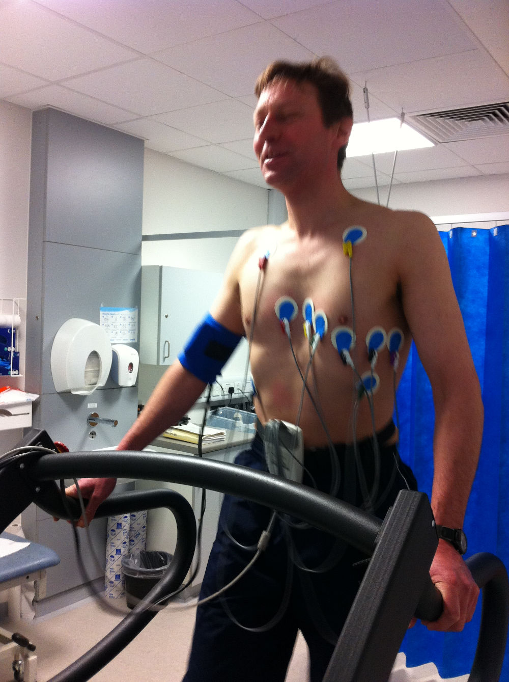 Me on the treadmill at the cardiology asessment