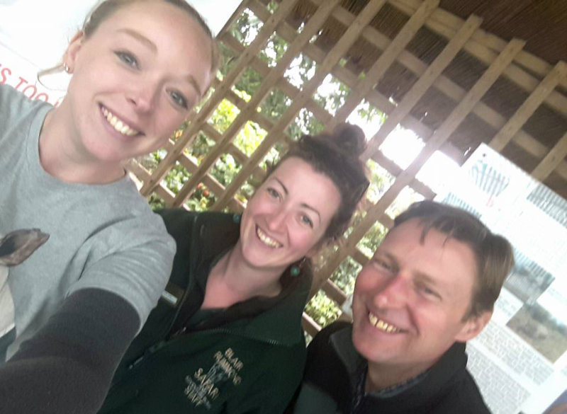 Archie with Amy and Katie at the Blair Dummond Rhino Awareness Weekend