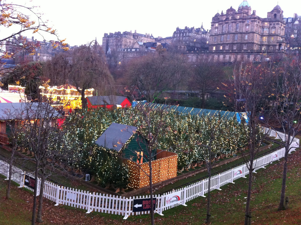 The Christmas Market with the Coconut Shy within