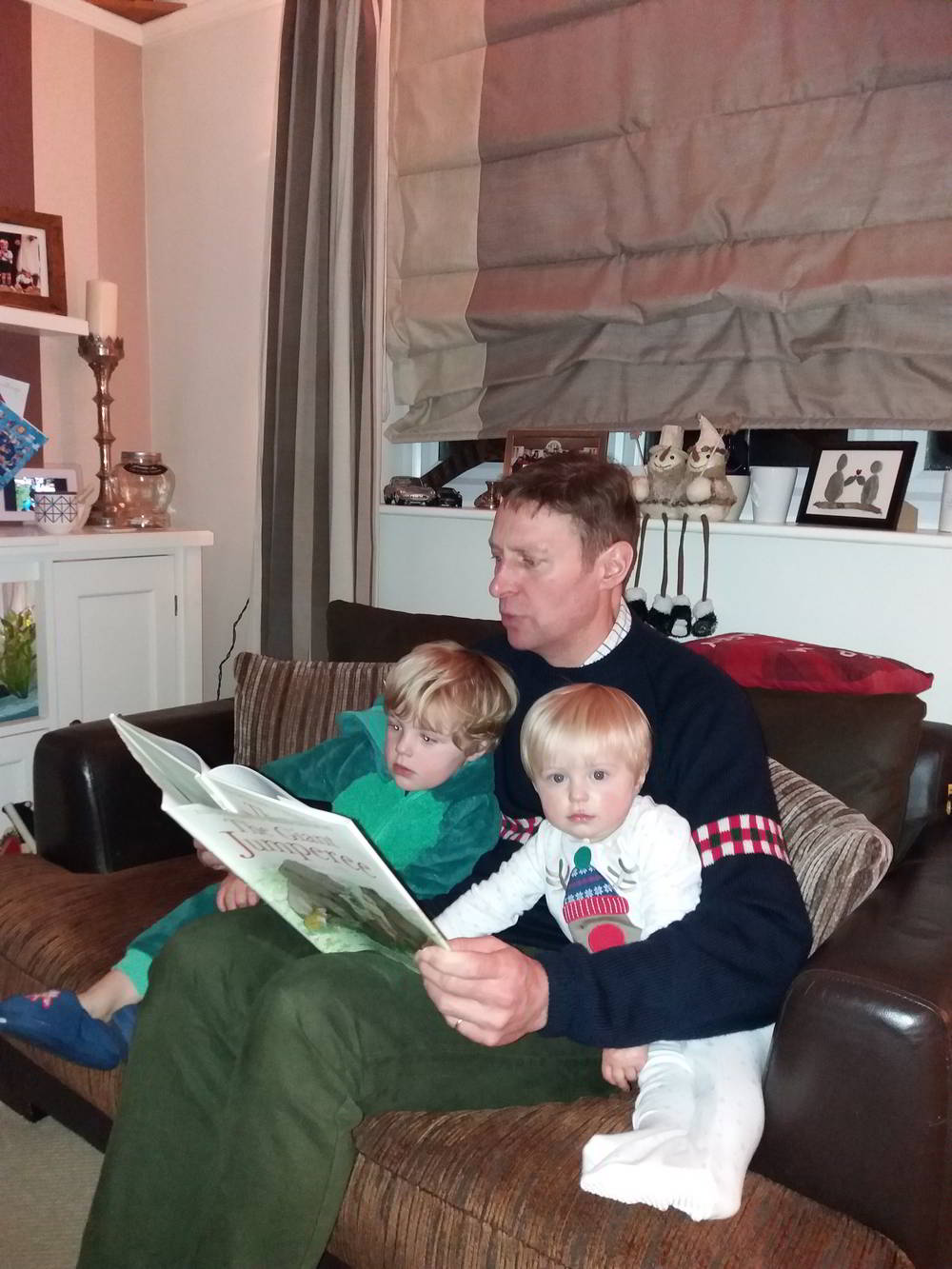 Archie Reading Bedtime Story To Wee Archie And William