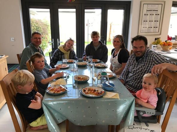 Nephews William And Archie, ME, Daughter Heather, Son James Darling Allie, Brother-in-law Rob And Niece Flora All Enjoying Allies Delicious Homemade Pizza After A Fab Day On The Beach